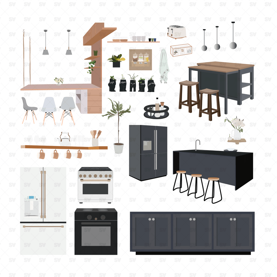 kitchen furniture vector ai png