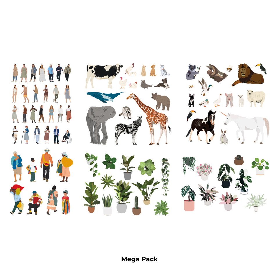 Mega Vector Pack: People, Plants & Animals