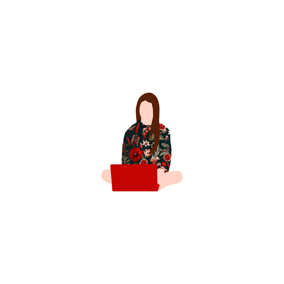 vector woman with laptop