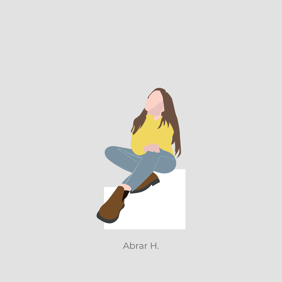 girl sitting illustration