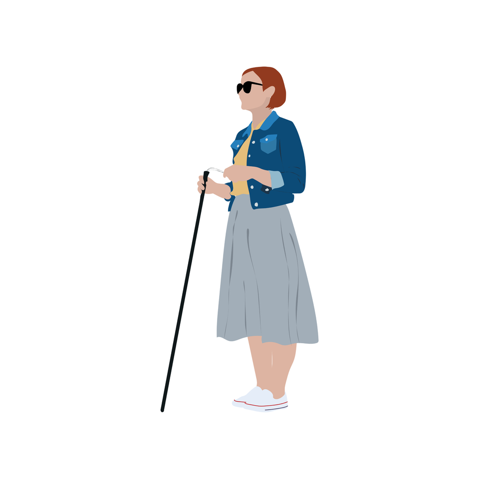 vector blind woman