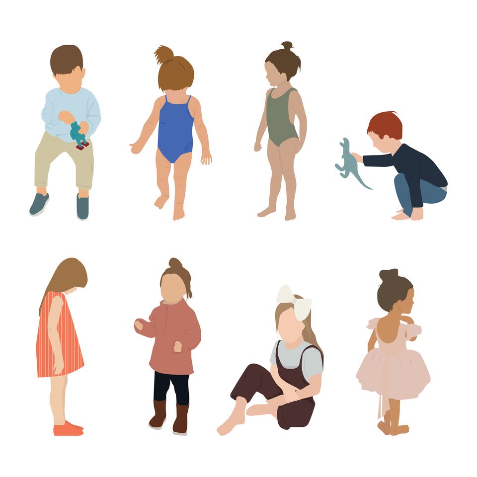 vector kids human scales
