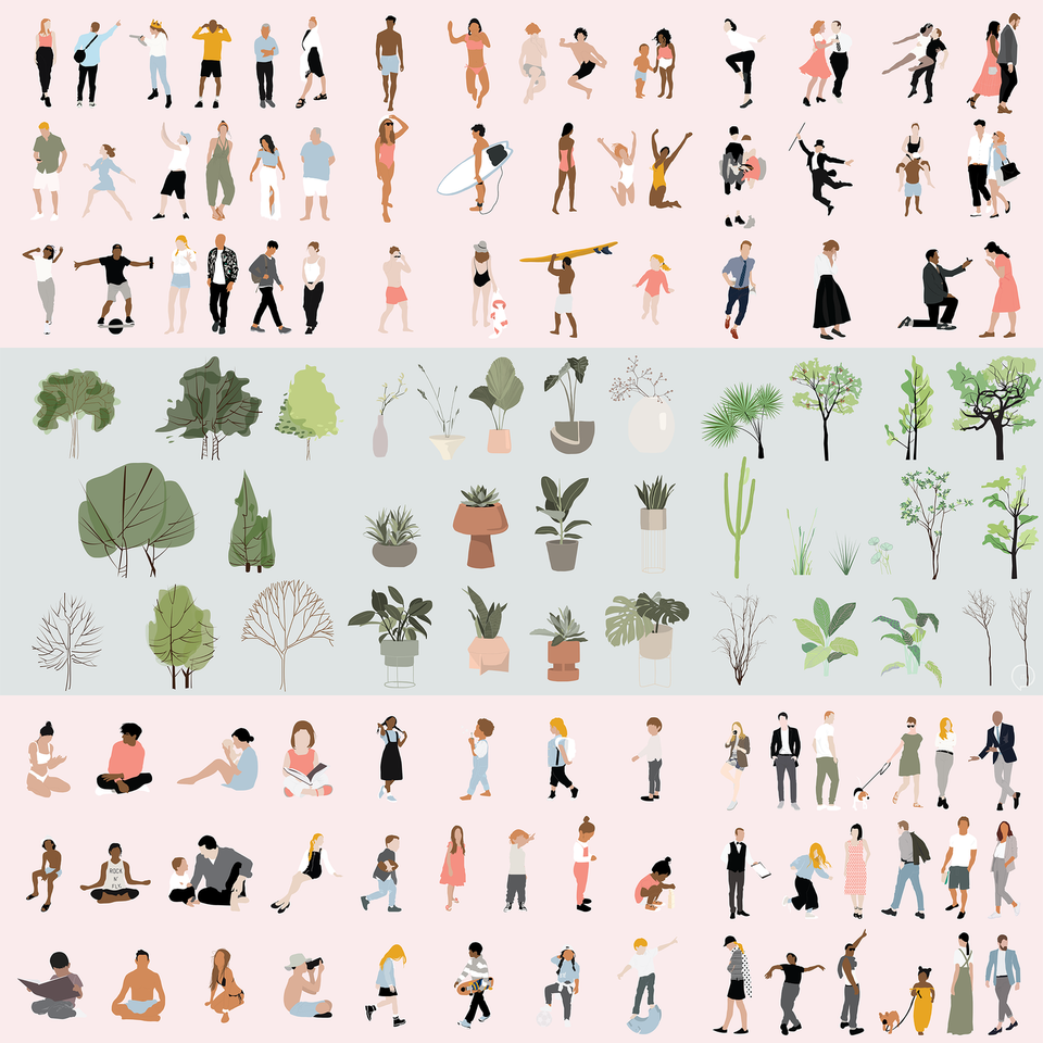 flat vector people plants trees