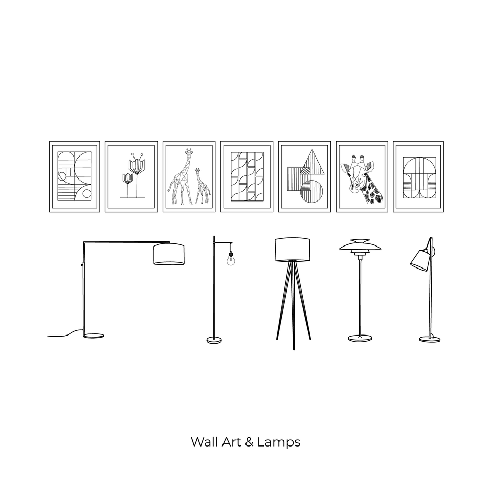 vector cad furniture lamps