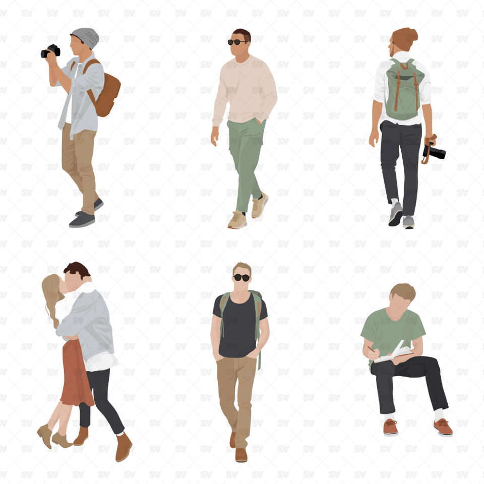 vector flat men pastel colors