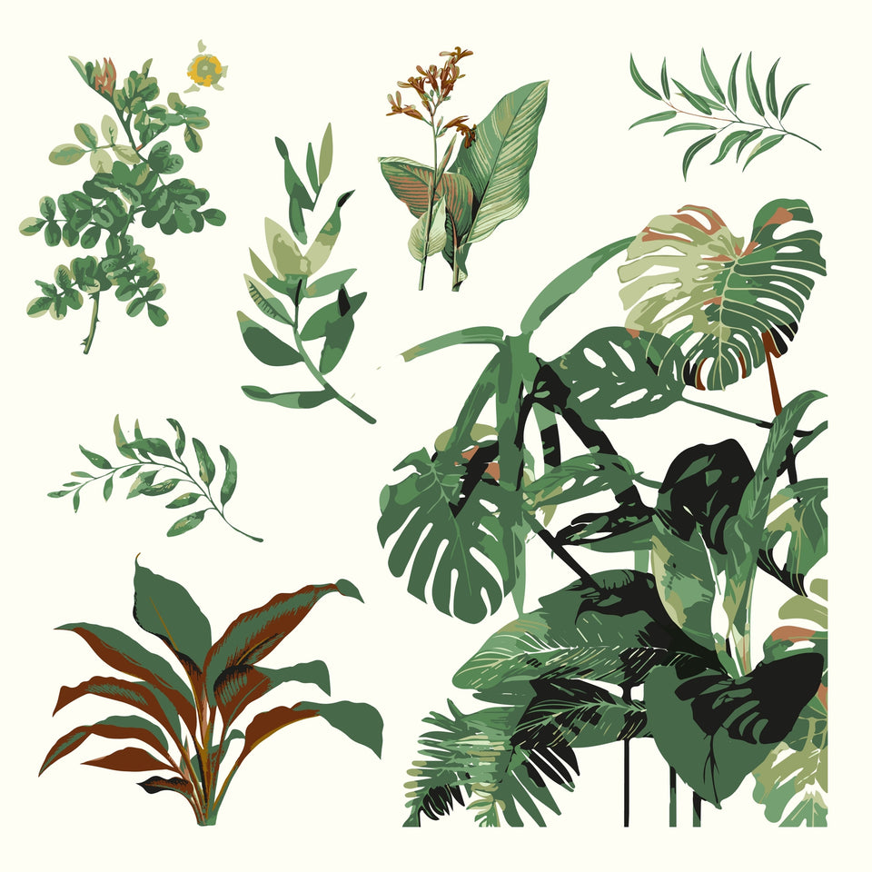 vector retro plants