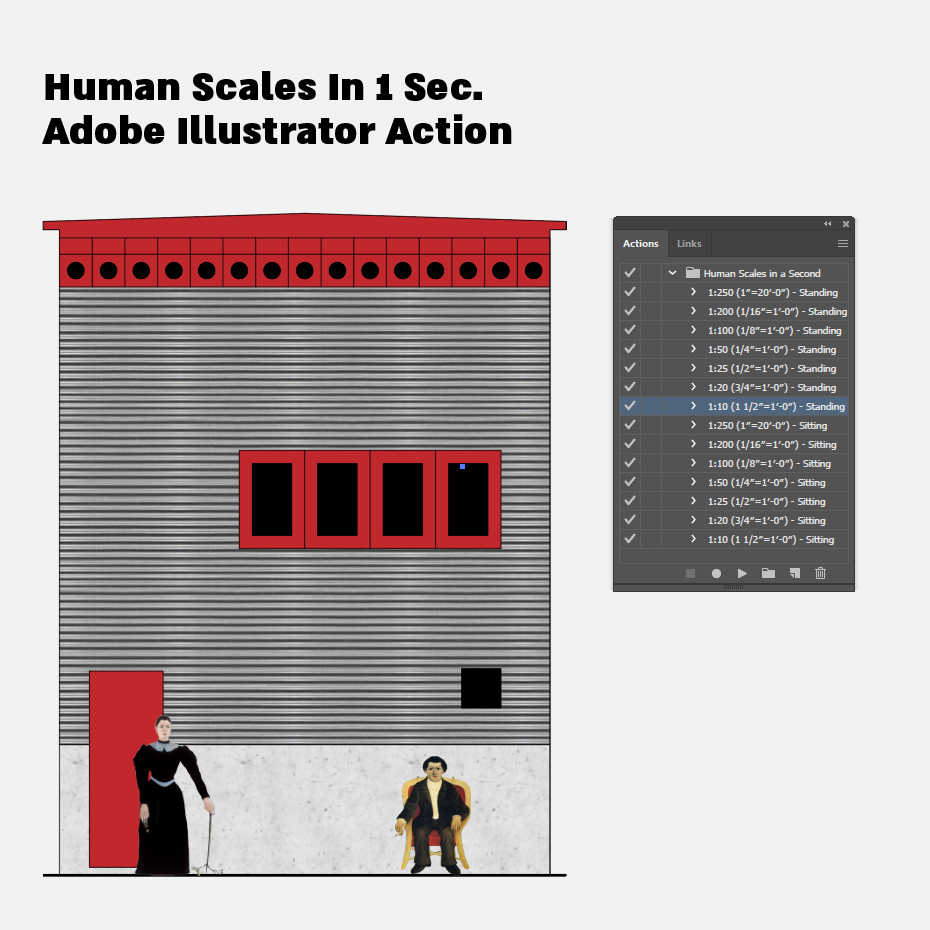 Elevation, Section Human Scales In 1 Sec. Illustrator Action-Illustrator Actions-Studio Alternativi