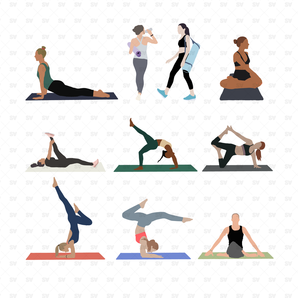 vector yoga poses people png
