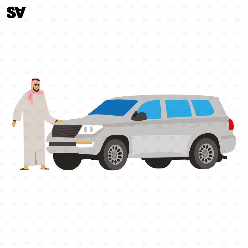vector muslim man with a car