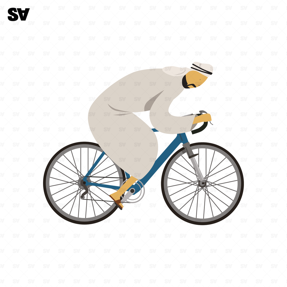 vector muslim man on a bicycle