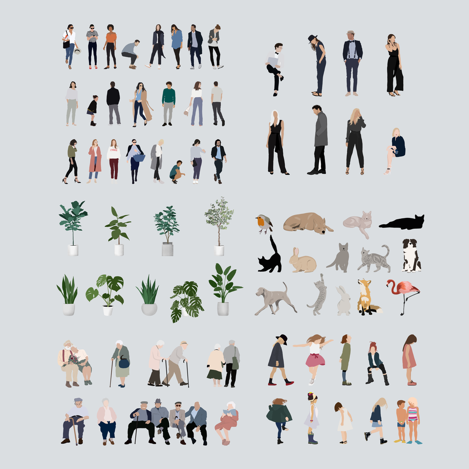 Mega Mixed Pack: People, Animals and Plants-Vectors-Studio Alternativi