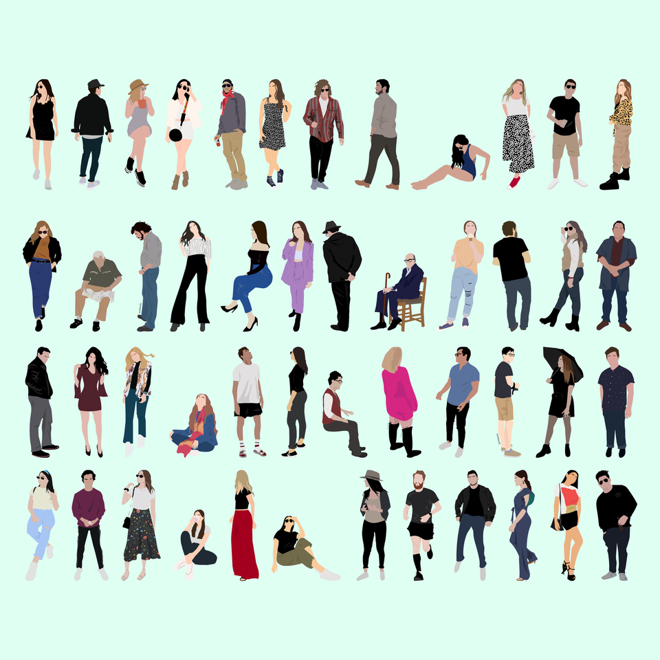 flat vector people free human scales