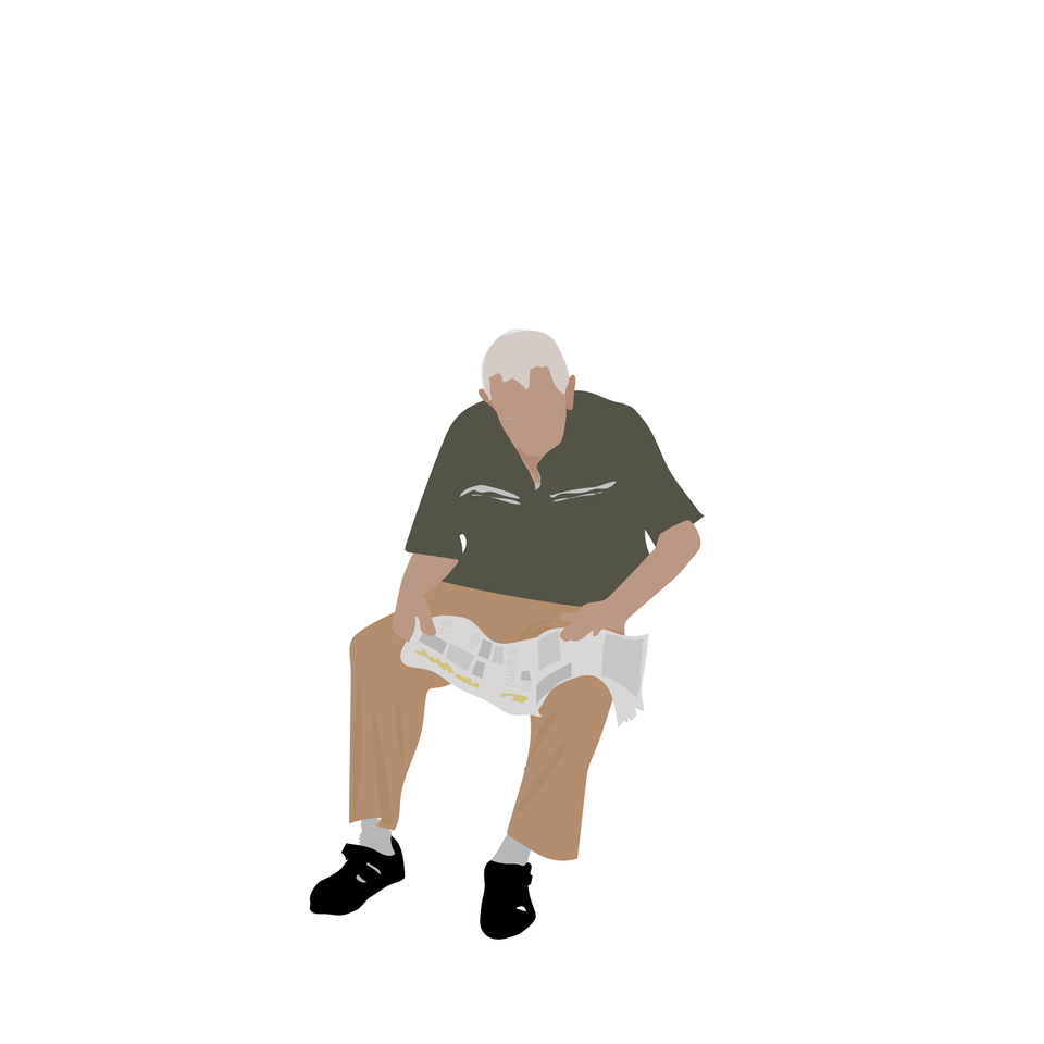 flat vector people old man sitting
