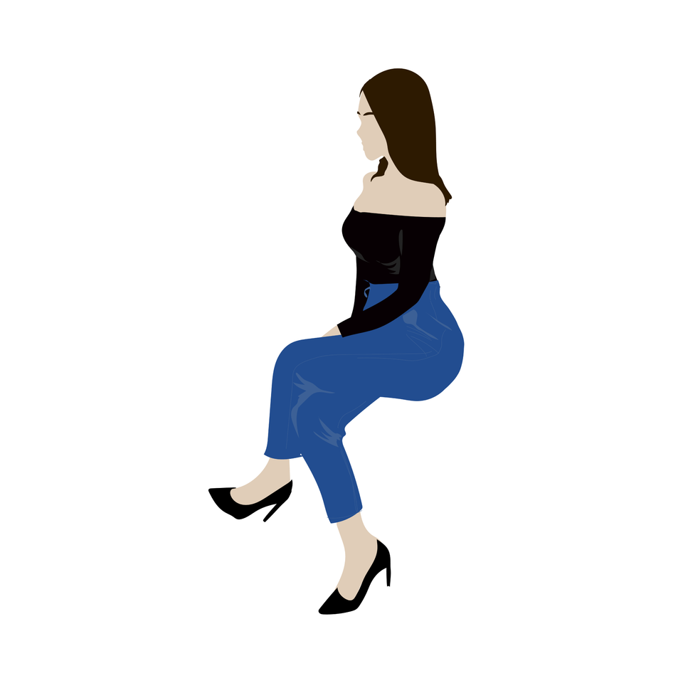 flat vector people woman sitting
