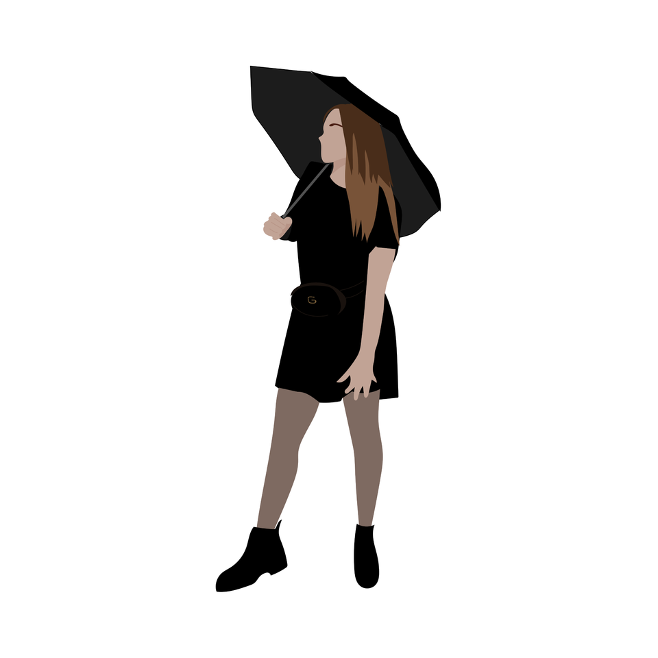 flat vector people girl umbrella