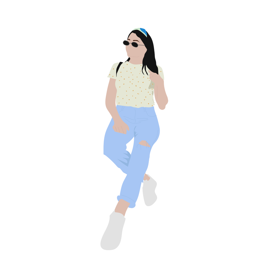 flat vector people common  sitting