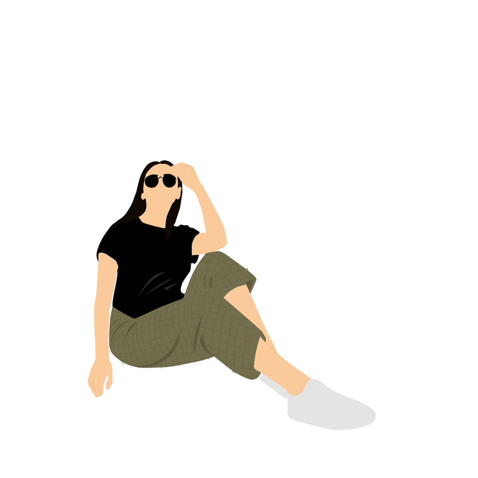 flat vector people common sitting  girl
