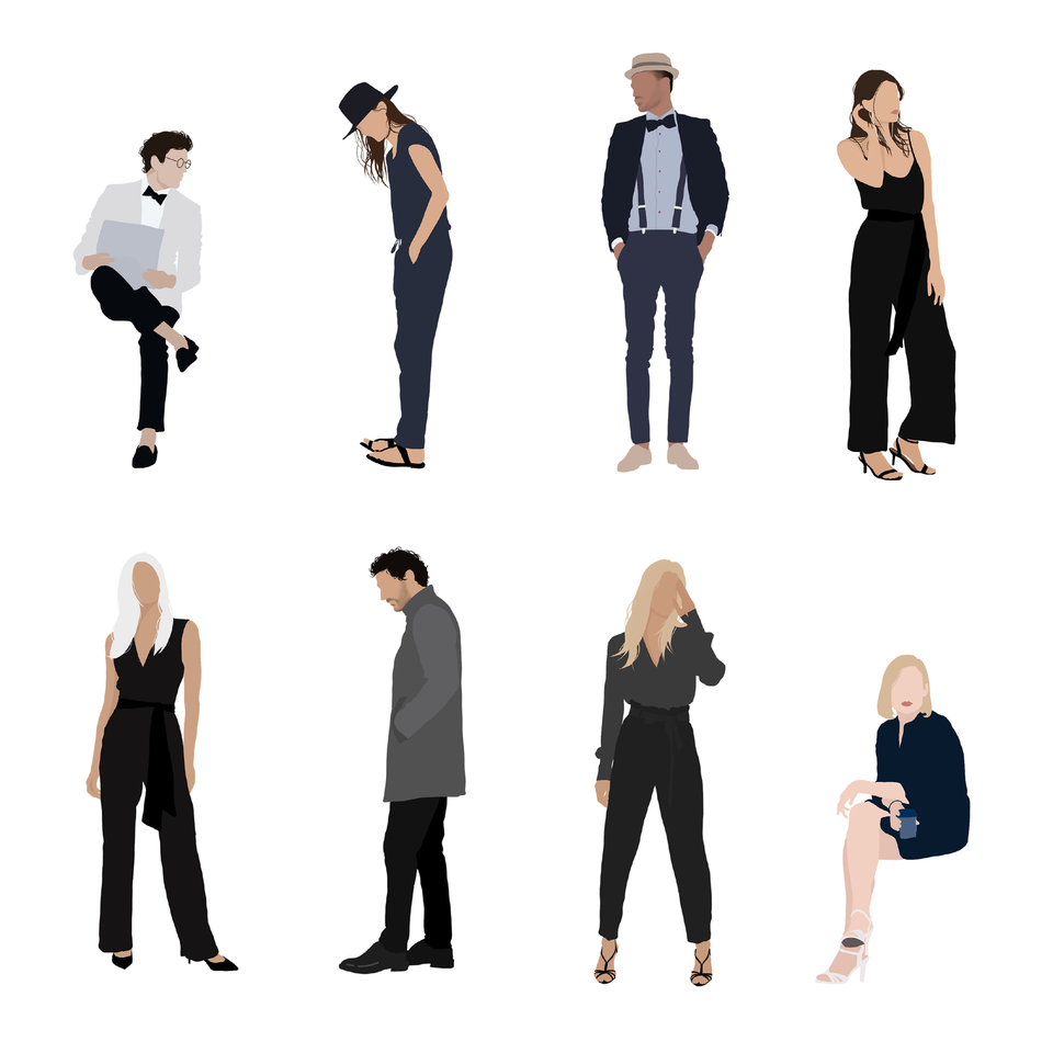 flat vector people architecture