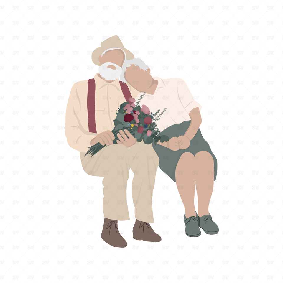 flat vector old couple