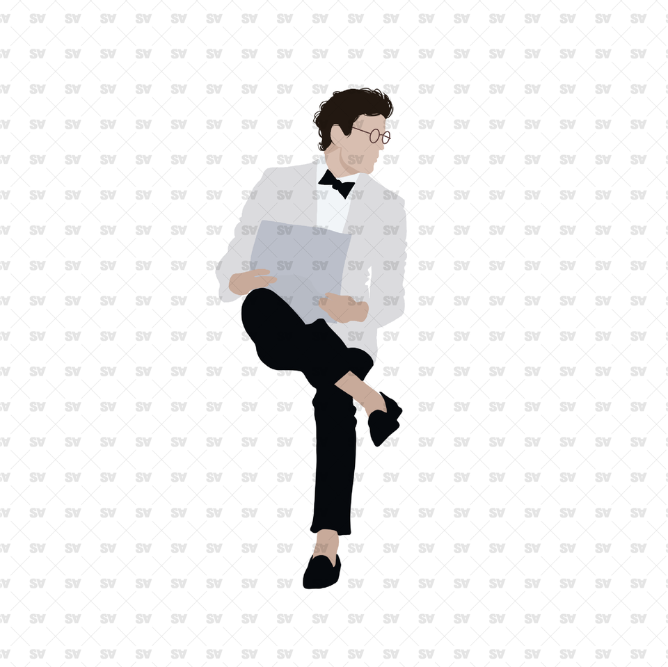 flat vector guy sitting