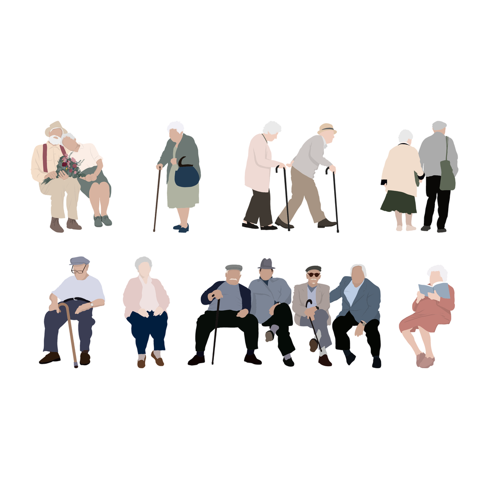 flat vector old people