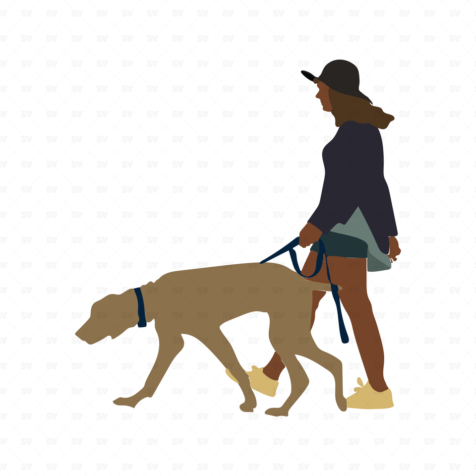 flat vector woman with dog