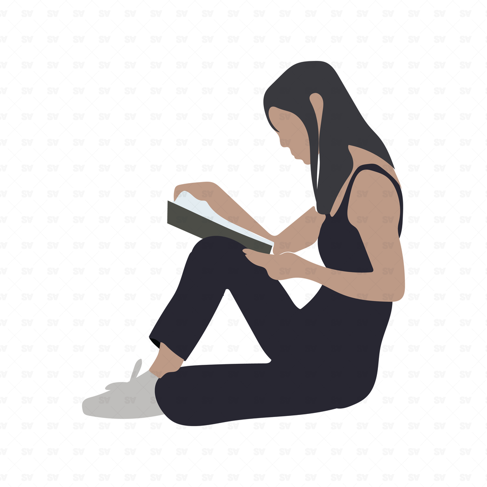 flat vector woman reading