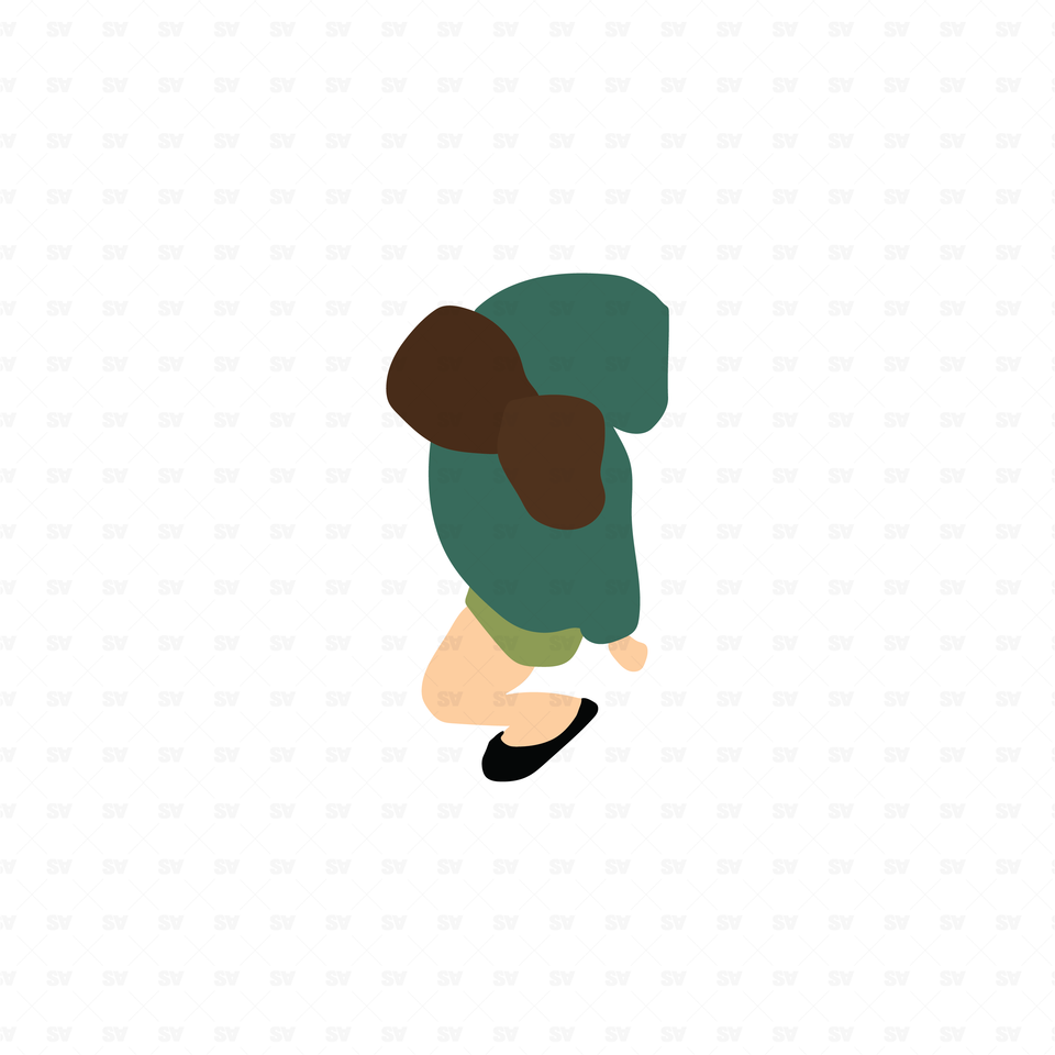 flat vector woman from top