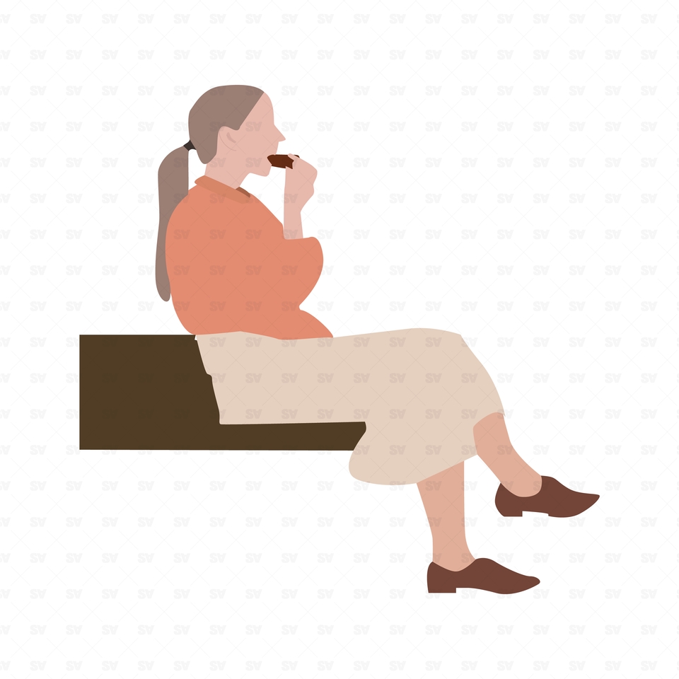 flat vector woman sitting