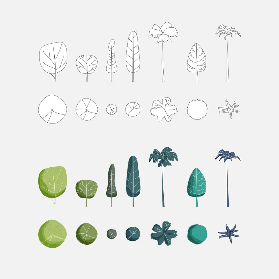 Vector Colorful Trees (48 Trees)