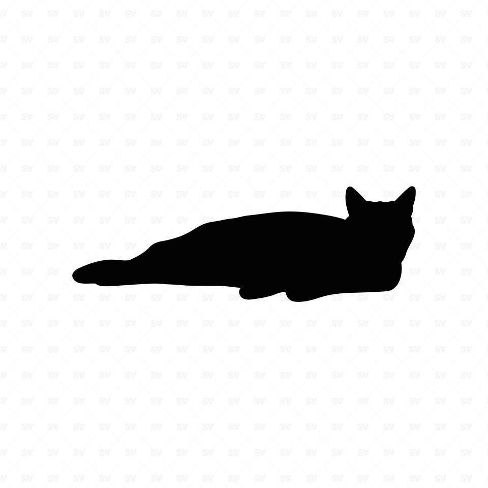 flat vector cat black