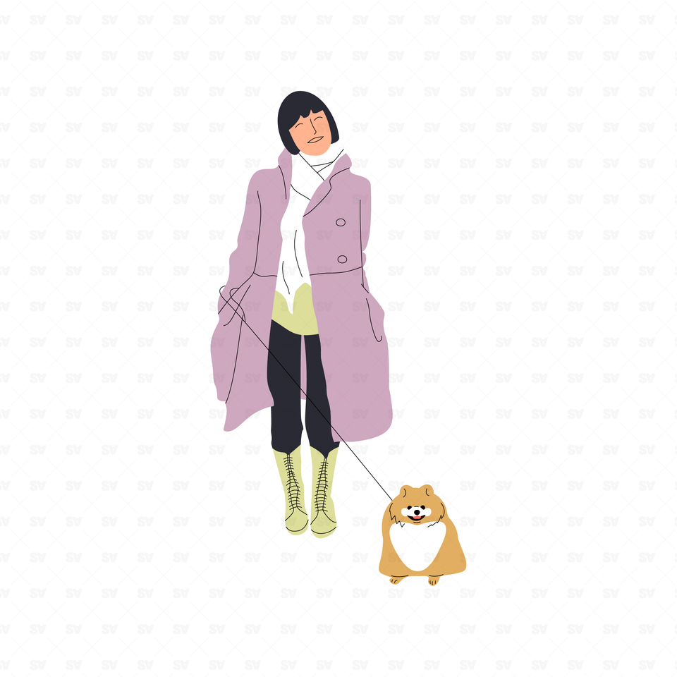 flat vector people illustrations  woman with dog