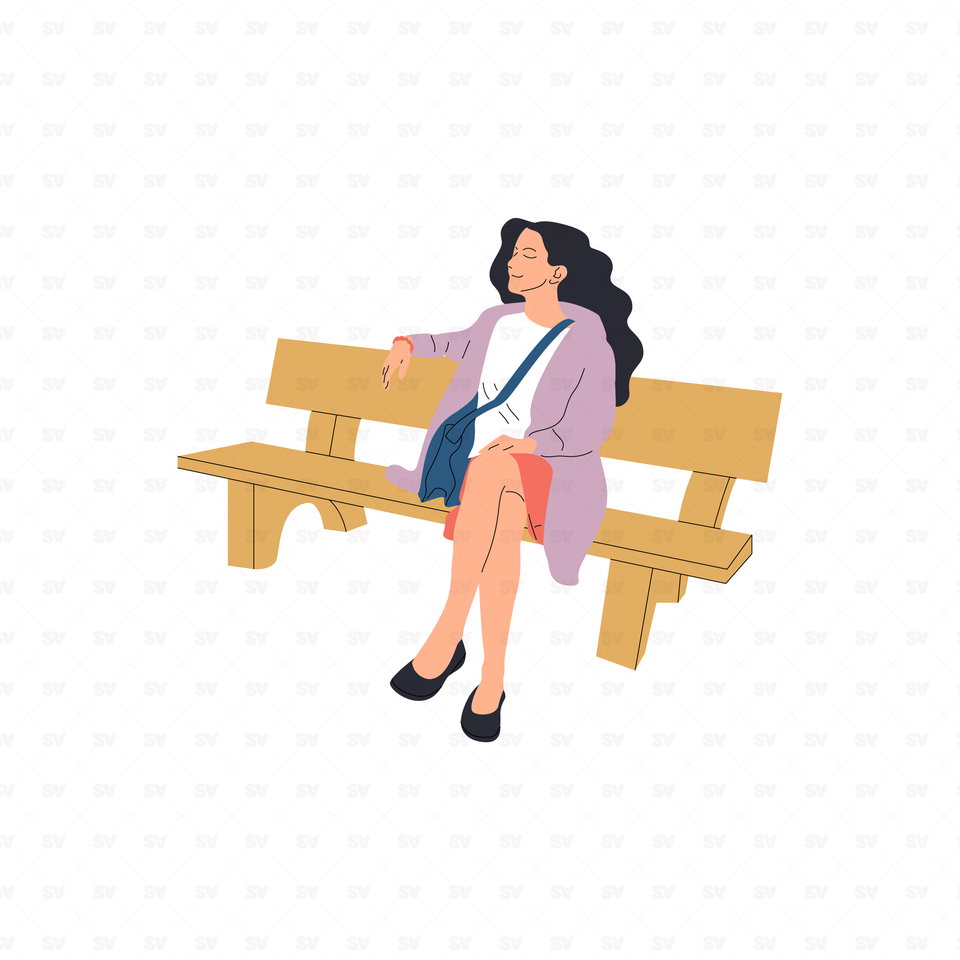 flat vector people illustrations sitting