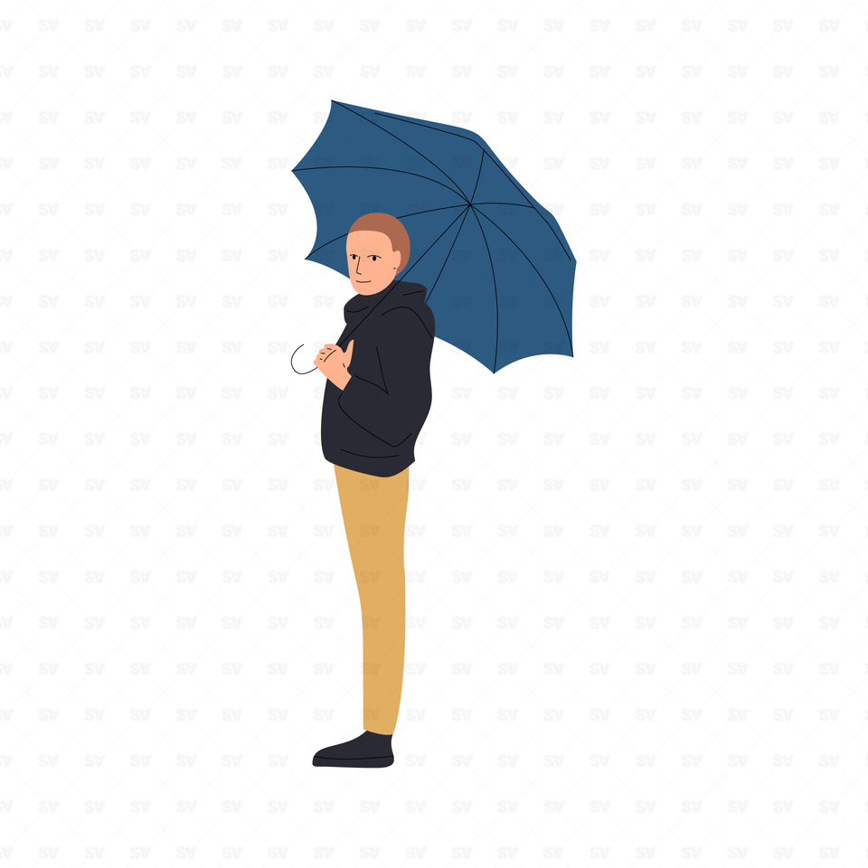 flat vector people illustrations man with umbrella