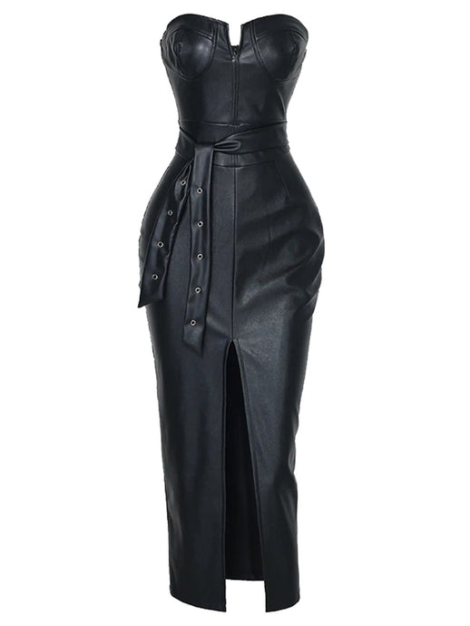 BLACK FAUX LEATHER BUSTIER BODYCON MIDI DRESS WITH FRONT SPLIT