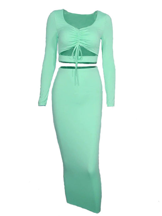 MINT GREEN LONG SLEEVE CROP TOP AND BODYCON MIDI SKIRT SET