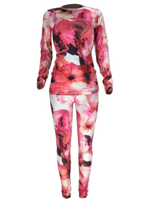 FLORAL PRINT LONG SLEEVE TOP AND LEGGING SET