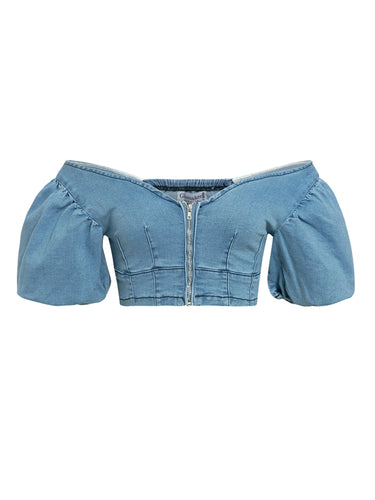 DENIM OFF SHOULDER FRONT ZIP CROP TOP