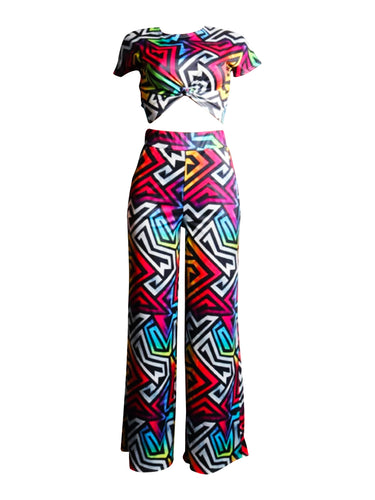 MULTICOLOR GEOMETRIC PRINT CROP TOP AND WIDE LEG PANTS SET