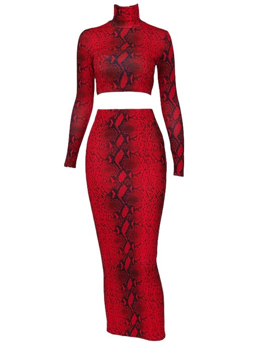 RED SNAKESKIN LONG SLEEVE CROP TOP AND MIDI BODYCON SKIRT SET