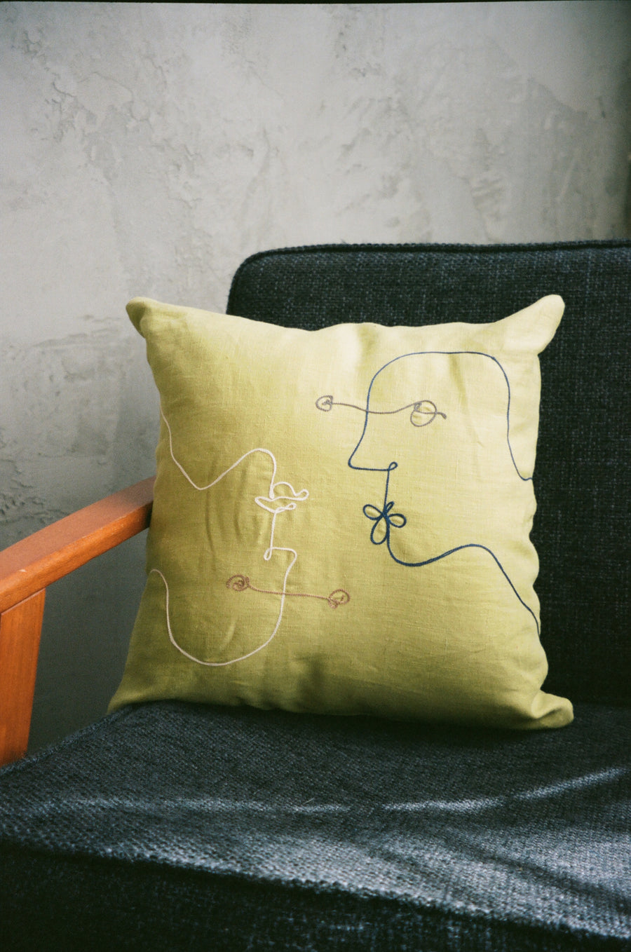 embroidered linen throw pillows