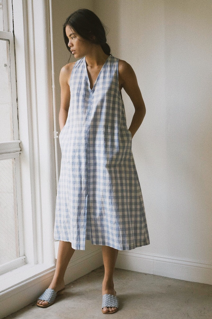 luz dress in blue gingham