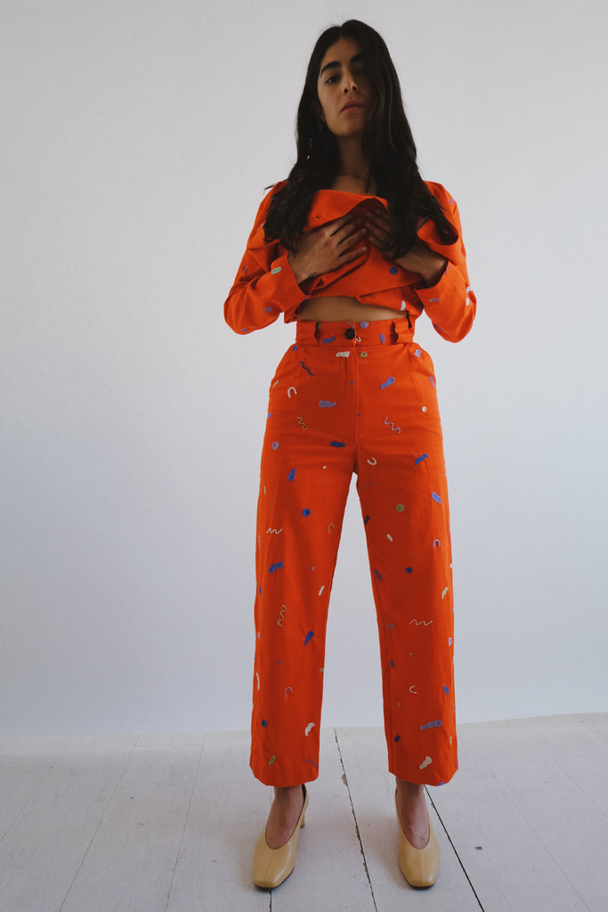 embroidered flo trouser