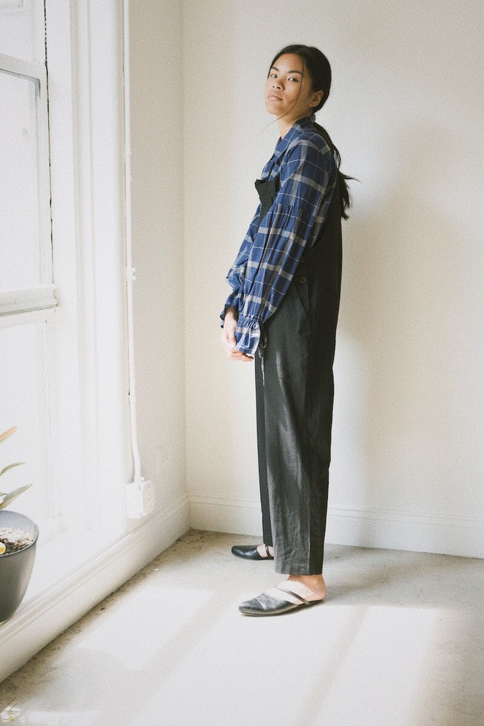 isa overalls in black linen