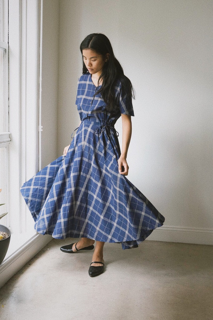 vale dress in indigo plaid