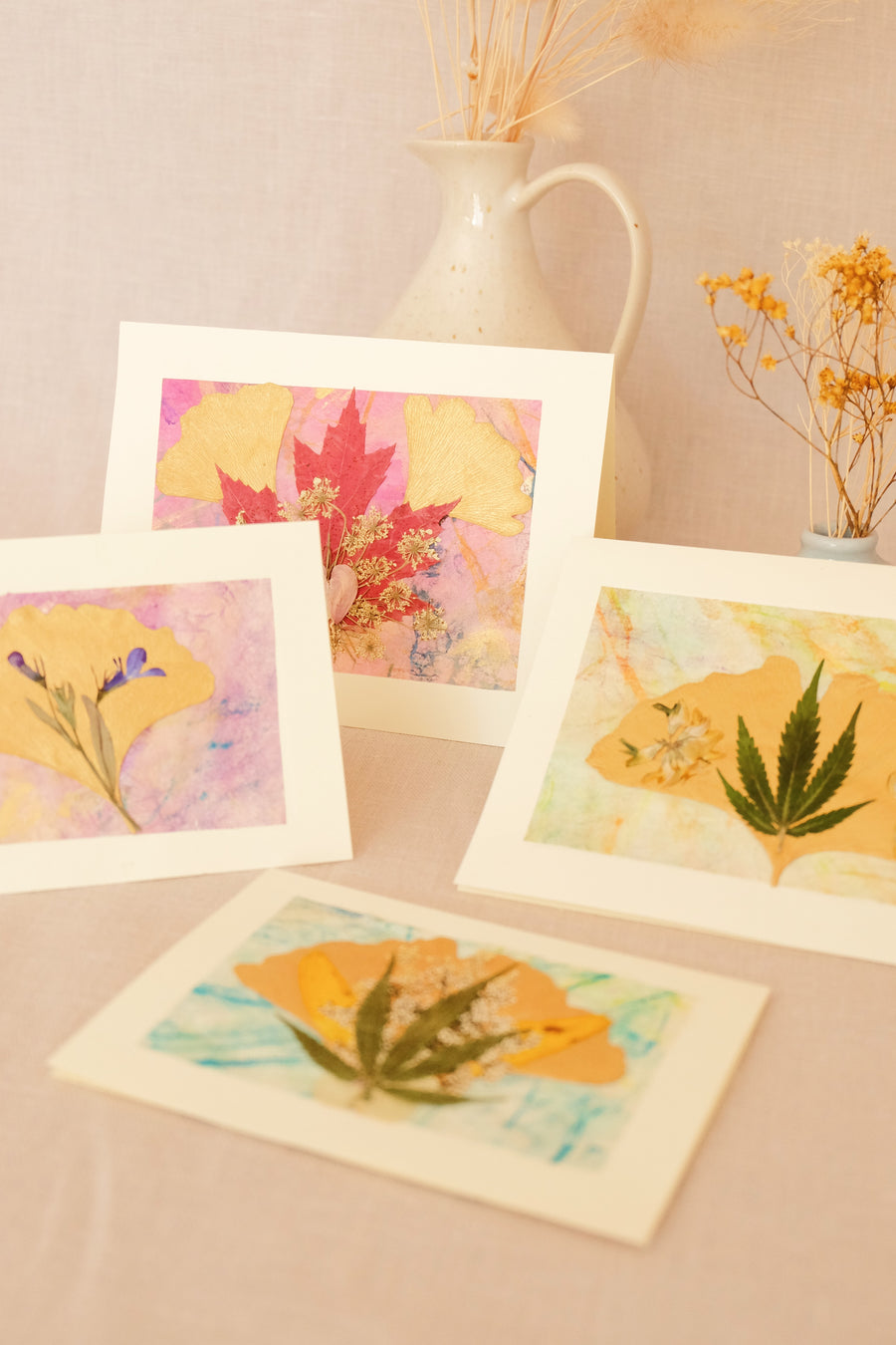 pressed hemp and flower cards