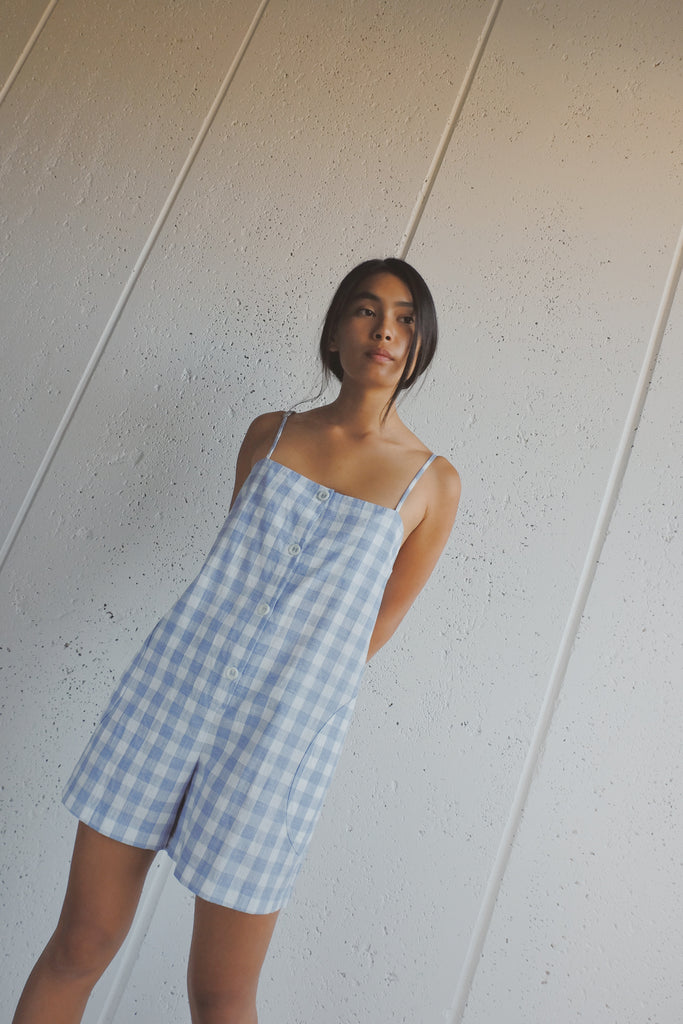 la flor romper in blue gingham