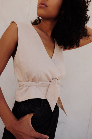liza tank in natural linen