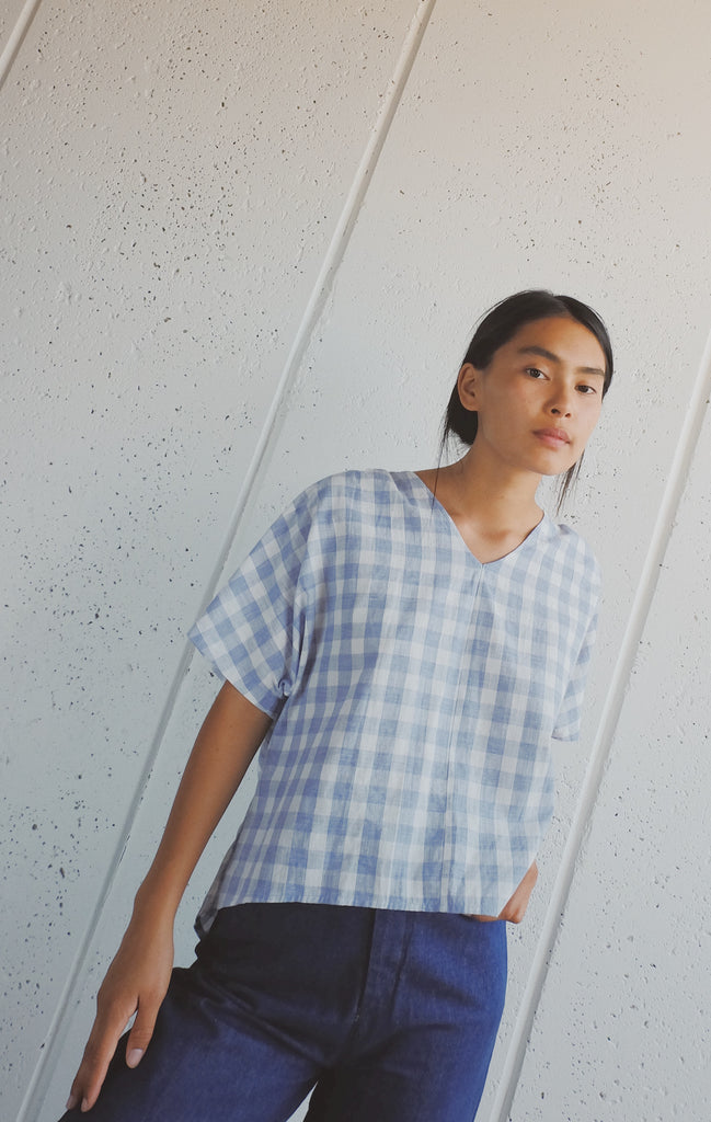 laban top in blue gingham