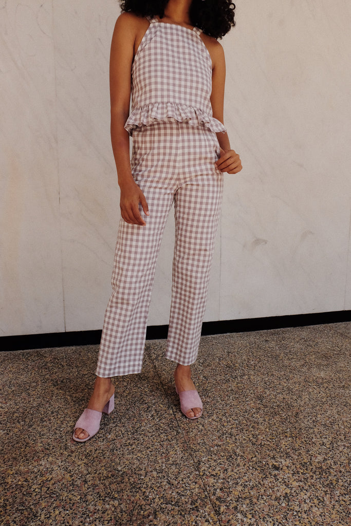 syd trouser in mauve gingham